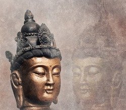 Photo illustration of mirror buddha with texture