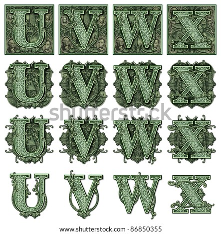 Photo-Illustration using parts of U.S. currency bills retouched and re-illustrated to create a new Money-themed alphabet. Seven total files can be downloaded to get a complete set.