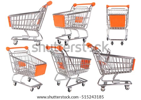 Photo image of shopping trolley collection isolated on white