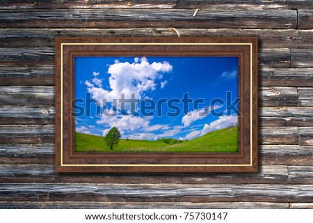Photo in modern frame on the old wooden wall