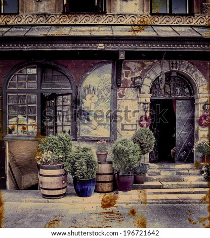 Photo in retro style. Paper texture./Aged textured photo with Italian cities