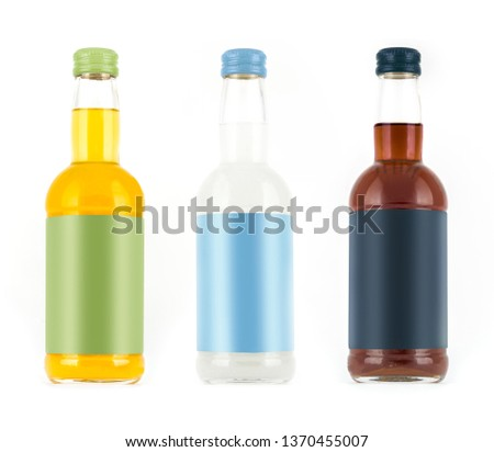 Photo-Layout bottles for drink on a white background with a blank label #1370455007