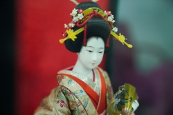 Photo learning cause with Geisha doll.