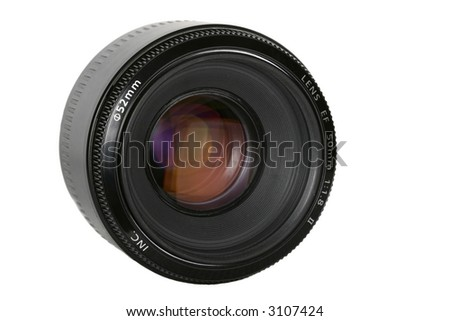 photo lens with softbox reflection