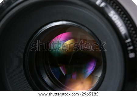 photo lense with umbrella reflection