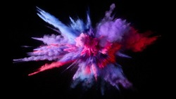 photo made of exploding paints at the time of their fall, bright colors are clearly visible in the image