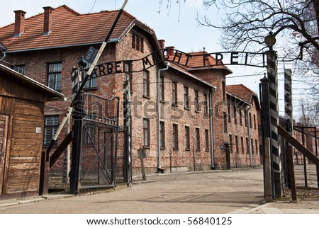 photo main gate entrace into the death camps in poland