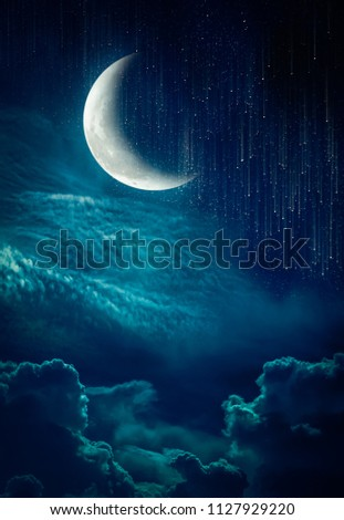 Photo Manipulation. Beautiful colorful skyscape with many stars and meteor shower. Landscape of night sky with crescent and cloudy. Serenity nature background. The moon taken with my camera.