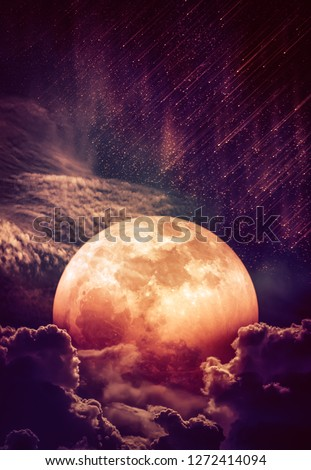 Photo Manipulation. Beautiful colorful skyscape with many stars and meteor shower. Landscape of sky with blood moon behind partial cloudy. Serenity nature background. The moon taken with my camera. #1272414094