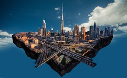 Photo manipulation of Dubai skyline