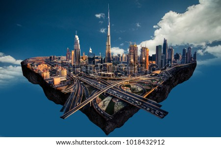 Photo manipulation of Dubai skyline