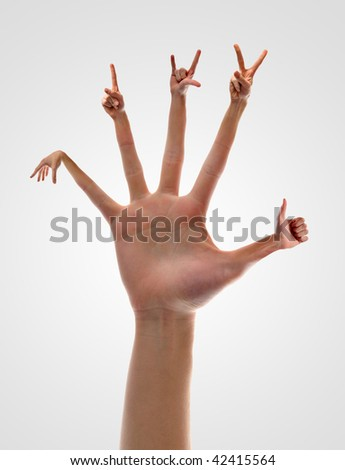 Photo manipulation of hands coming out of fingers.