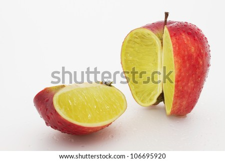 Photo manipulation:  red apple with lemon content