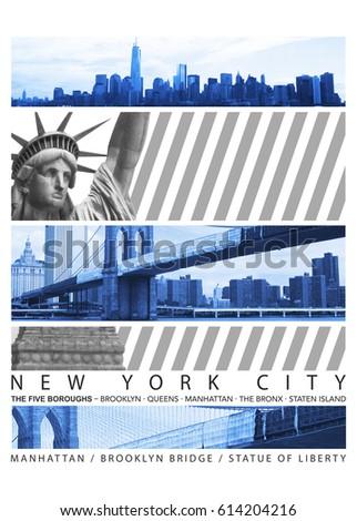 Photo montage New York city Statue of liberty and brooklyn bridge, illustration, tee shirt graphics, typography