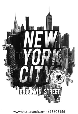 Photo montage New York , sport, tee shirt graphics, skate board typography