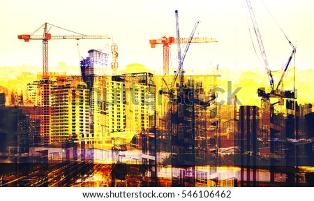 Photo-montage of Buildings and Construction site background #546106462