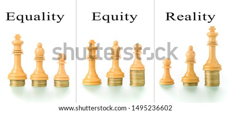 Photo montage with two conceptual photographs with chess pieces and coins showing the concepts of equality and equity. #1495236602
