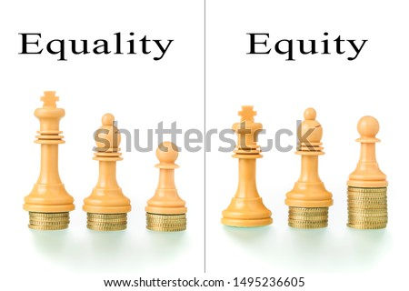 Photo montage with two conceptual photographs with chess pieces and coins showing the concepts of equality and equity. #1495236605