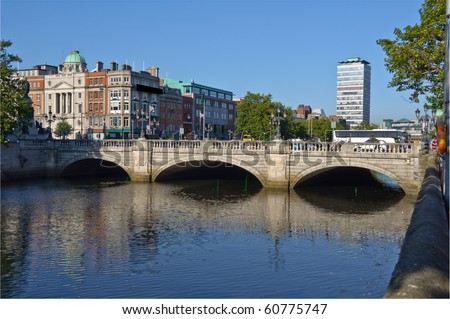 photo most famous bridge in ireland,o'connell bridge,dublin city centre - stock photo