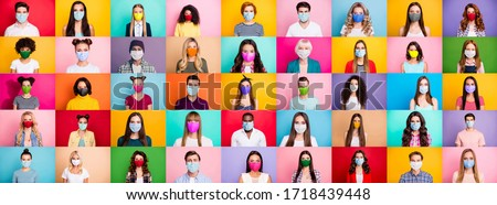 Photo of  Photo multiple montage image of student kid afro human people of different age and ethnicity wearing surgical disposable and fabric breathing masks isolated over bright colorful background