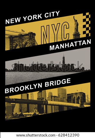 Photo New York and Brooklyn bridge, Statue of liberty, tee shirt graphics, typography
