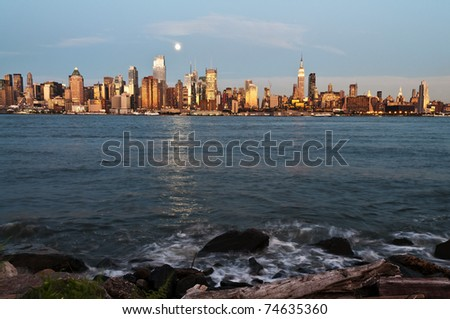 photo new york city skyline over hudson river