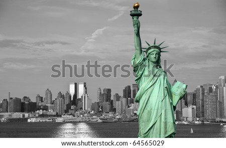 photo new york city skyline statue liberty tourism concept - stock photo