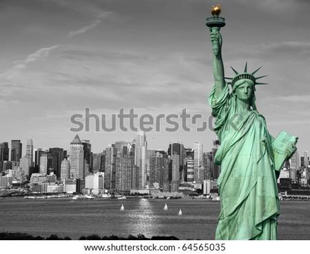 photo new york city skyline statue liberty tourism concept