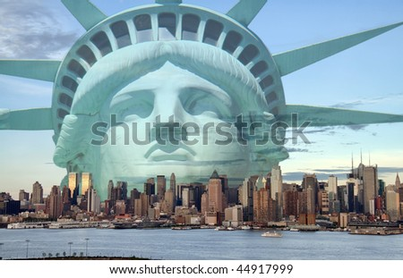 photo new york city skyline with statue liberty