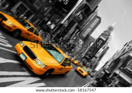 Photo New York City Taxi Blur focus motion Times Square