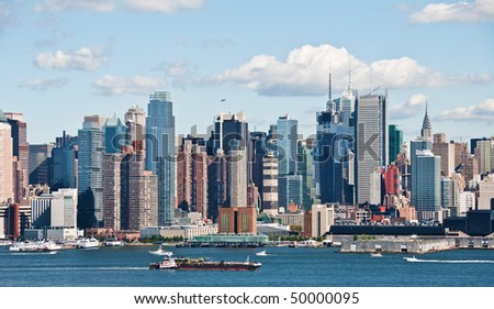 photo new york cityscape over hudson river