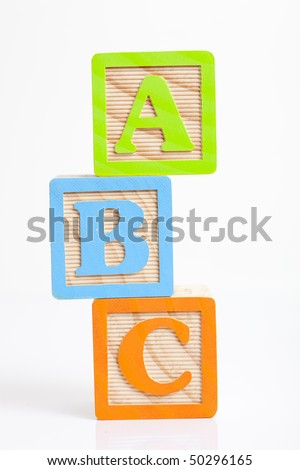 photo of a alphabet blocks spelling abc
