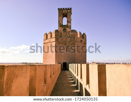Photo of a beautiful and characteristic tower in Badajoz, called Espantaperros on a sunny day