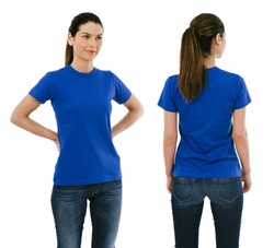 Photo of a beautiful brunette woman posing with a blank blue t-shirt, ready for your artwork or design.