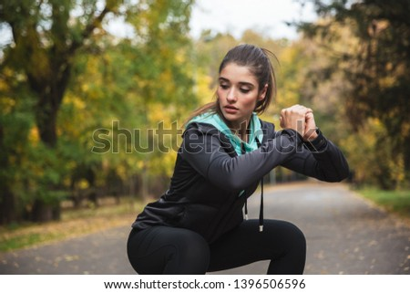 Photo of a beautiful pretty young pretty fitness woman outdoors in the park make sport exercises. #1396506596