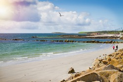 Photo of a beautiful scenic sea and sky landscape. View of ocean scenery. Beach and promenade, West coast of Ireland, Galway, Salthill, Atlantic ocean. Sea shore line
