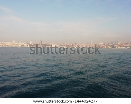 Photo of a beautiful sea merged with the city