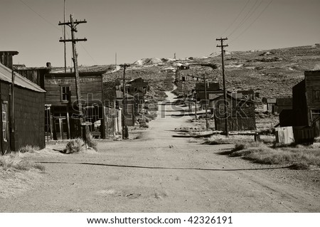 photo of a black and white old ghost town