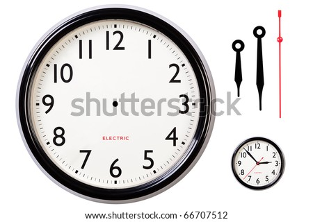 Photo of a blank electric clock face with arabic numerals plus hour, minute and second hands to make your own time, small version of original included for guidance. Clipping path included for clock.