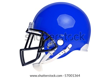 Photo of a blue American football helmet isolated on a white background with detailed clipping path.