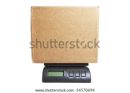 photo of a box on a postal scale isolated against white background - stock photo