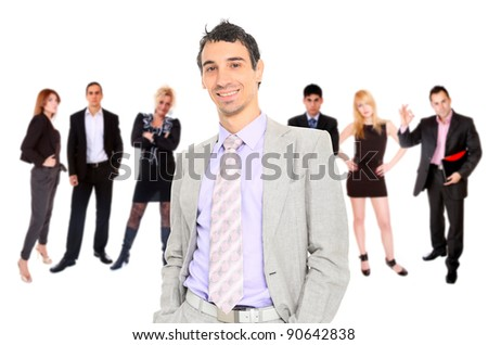 Photo of a business team isolated on a white background