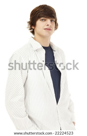 Photo of a casual young man, isolated against a white backdrop