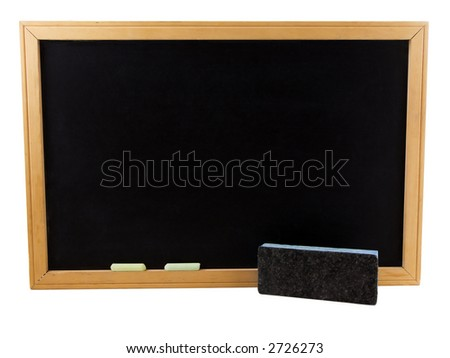 Photo of a chalkboard with an eraser and chalk, isolated on white