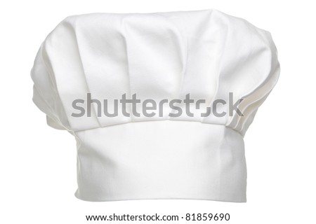Photo of a chefs hat traditionally called a toque blanche, isolated on a white background. Foto stock ©