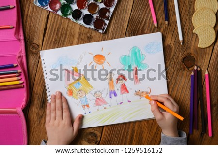 Photo of a children's picture on a theme - My happy family, painted with colored pencils. Psychological testing of the child using the picture.