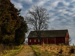 Photo of a Civil War Barn and Road, Gettysburg National Military Park, Pennsylvania, USA