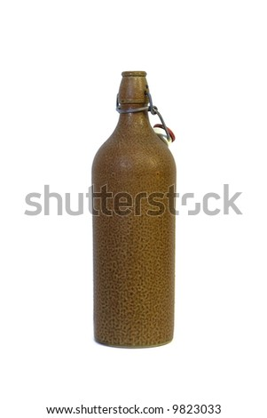 Photo of a classic Belgian style clay beer bottle.