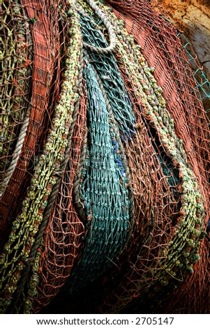 Photo of a colorful fishing net
