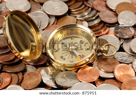 Photo of a Compass and Money - Money Concept